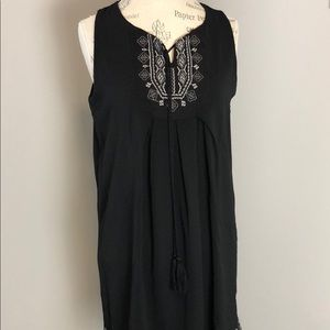 Exist Black Summer Embroidered Trim Shift Dress